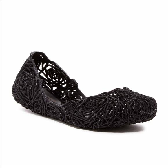 e0c0b295b85 Melissa Campana Fitas Jelly Flats in Black Size 6